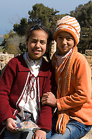 Cyrene, Shahat, Cyrenaica, Libya, North Africa - Libyan Teenage Girls in Sporty Western Clothes.