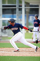 GCL Red Sox right fielder Juan Barriento (24) at bat during the first game of a doubleheader against the GCL Rays on August 9, 2016 at JetBlue Park in Fort Myers, Florida.  GCL Rays defeated GCL Red Sox 5-4.  (Mike Janes/Four Seam Images)