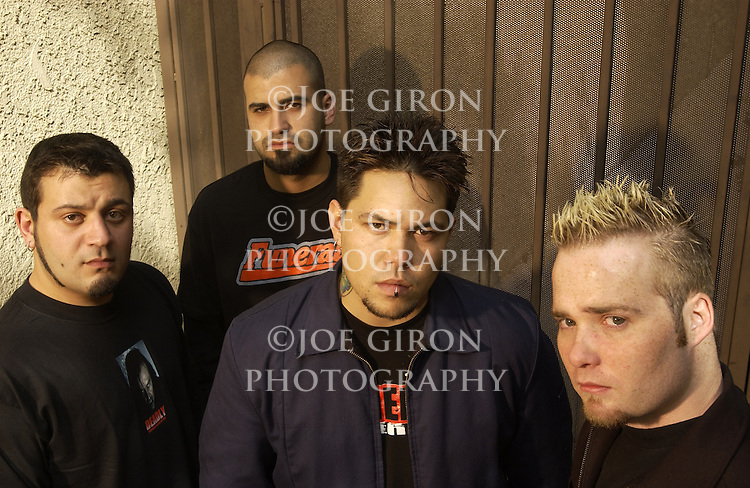 Various portraits of the rock band, Spineshank.