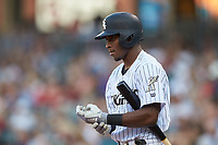 Tim Anderson (11) of the Chicago White Sox steps up to the plate for the Charlotte Knights on a rehab assignment during the game against the Buffalo Bisons at BB&T BallPark on July 24, 2019 in Charlotte, North Carolina. The Bisons defeated the Knights 8-4. (Brian Westerholt/Four Seam Images)
