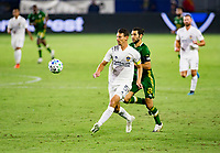 CARSON, CA - OCTOBER 07: Daniel Steres #5 of the Los Angeles Galaxy moves to the ball during a game between Portland Timbers and Los Angeles Galaxy at Dignity Heath Sports Park on October 07, 2020 in Carson, California.