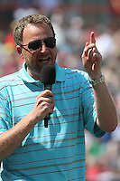 Richmond Flying Squirrels radio announcer Jon Laaser taking part in an on field promotion during a game against the Trenton Thunder at The Diamond on May 27, 2012 in Richmond, Virginia. Richmond defeated Trenton by the score of 5-2. (Robert Gurganus/Four Seam Images)