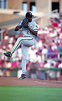 Birmingham Barons pitcher Luis Andujar (28) during a 1994 Southern League game against the Orlando Cubs at Tinker Field in Orlando, Florida.  (Tyler Bolden/Four Seam Images)