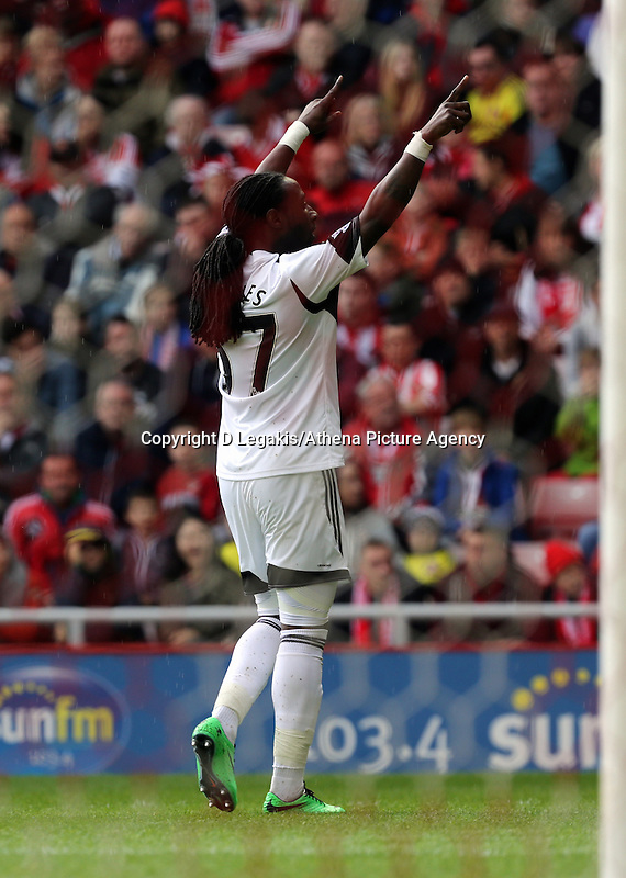 Pictured: Marvin Emnes of Swansea celebrating his goal, making the score 2-0 to Swansea. Sunday 11 May 2014<br /> Re: Barclay's Premier League, Sunderland v Swansea City FC at the Stadium of Light, Sunderland, UK.