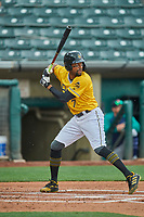 Jo Adell (7) of the Salt Lake Bees at bat against the Tacoma Rainiers at Smith's Ballpark on May 16, 2021 in Salt Lake City, Utah. The Bees defeated the Rainiers 8-7. (Stephen Smith/Four Seam Images)