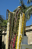The statue of King Kamehameha the Great is draped with leis for Kamehameha Day each year on June 11th. The statue stands in front of Aliiolani Hale, also known as the Judiciary building, near Iolani Plalce in downtown Honolulu.