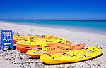 Mexico, Baja California Sur, La Paz, Playa El Tecolote, Kayaks