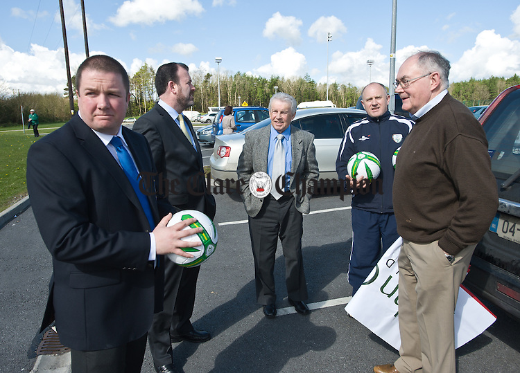 Johnny Giles is greeted by officials during his visit to Ennis launch the John Giles Foundation Walk of Dreams which is on at Lees Road on May 7th. Photograph by John Kelly.