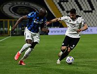 Romelu Lukaku of Inter  and Riccardo Marchizza  during the  italian serie a soccer match,Spezia Inter Milan at  the STadio Picco in La Spezia Italy ,
