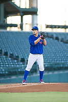 AZL Cubs starting pitcher Faustino Carrera (97) prepares to deliver a pitch during a game against the AZL Athletics on August 9, 2017 at Sloan Park in Mesa, Arizona. AZL Athletics defeated the AZL Cubs 7-2. (Zachary Lucy/Four Seam Images)