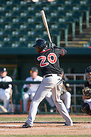 Yohermyn Chavez #20 of the Lansing Lugnuts at bat versus the South Bend Silver Hawks at Coveleski Stadium April 15, 2009 in South Bend, Indiana. (Photo by Brian Westerholt / Four Seam Images)