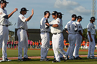 Lakeland Flying Tigers second baseman Javier Betancourt (7) during introductions before a game against the Tampa Yankees on April 9, 2015 at Joker Marchant Stadium in Lakeland, Florida.  Tampa defeated Lakeland 2-0.  (Mike Janes/Four Seam Images)