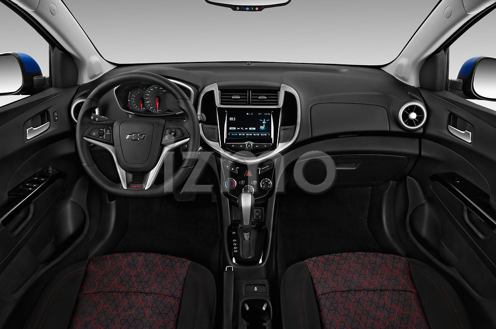 Stock photo of straight dashboard view of a 2020 Chevrolet Sonic LT RS Select Doors Door Hatchback