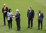 Luis Rubiales, President of RFEF; Enrique Cerezo, President of Atletico de Madrid; Isabel Diaz Ayuso, President of Comunity of Madrid, Jose Manuel Rodriguez Uribes, Minister of Culture and Sports and Just Luis Martinez-Almeida, Mayor of Madrid, during the celebration for de victory in La Liga 2020/2021 by Atletico de Madrid. May 23,2021. (ALTERPHOTOS/Alberto Simon)