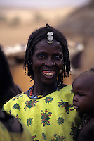 Near Bankilare, southwestern Niger - Bella Woman and Child, Jewelry, Necklace, Beads, Coins