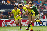 South Africa vs Australia during the HSBC Sevens Wold Series Cup Quarter Finals match as part of the Cathay Pacific / HSBC Hong Kong Sevens at the Hong Kong Stadium on 29 March 2015 in Hong Kong, China. Photo by Manuel Bruque / Power Sport Images