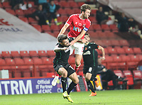 Ben Purrington of Charlton Athletic fouls Danny Mayor of Plymouth Argyle during Charlton Athletic vs Plymouth Argyle, Emirates FA Cup Football at The Valley on 7th November 2020