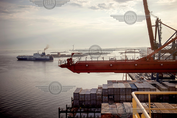 A view from the Mary Maersk, the largest container ship in the world.