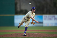Western Carolina Catamounts relief pitcher Jack Snyder (34) delivers a pitch to the plate against the Saint Joseph's Hawks at TicketReturn.com Field at Pelicans Ballpark on February 23, 2020 in Myrtle Beach, South Carolina. The Hawks defeated the Catamounts 9-2. (Brian Westerholt/Four Seam Images)
