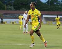 NEIVA- COLOMBIA, 28-04-2019: Diego Moreno  jugador del Atlético Huila celebra después de anotar un gol contra el Once Caldas  durante partido por la fecha 18 de la Liga Águila I 2019 jugado en el estadio Guillermo Plazas Alcid de la ciudad de Neiva. / Diego Moreno player of Atletico Huila celebrates after scoring a goal agaisnt of Once Caldas during the match for the date 18 of the Liga Aguila I 2019 played at the Guillermo Plazas Alcid Stadium in Neiva  city. Photo: VizzorImage / Sergio Reyes / Contribuidor.