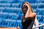 Morata's girlfriend Alice Campello during the presentation of the player at the Santiago Bernabeu Stadium. August 15, 2016. (ALTERPHOTOS/Rodrigo Jimenez)