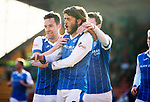 St Johnstone v Ross County…24.02.18…  McDiarmid Park    SPFL<br />Murray Davidson celebrates his first goal with Steven MacLean and Blair Alston<br />Picture by Graeme Hart. <br />Copyright Perthshire Picture Agency<br />Tel: 01738 623350  Mobile: 07990 594431