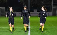 referees with Shauni Depruyst , Bert Verbeke and Joline Delcroix pictured during warming up of a female soccer game between  AA Gent Ladies and Sporting Charleroi Feminin on the fifth matchday of the 2020 - 2021 season of Belgian Scooore Womens Super League , friday 16 th of October 2020  in Oostakker , Belgium . PHOTO SPORTPIX.BE | SPP | DAVID CATRY