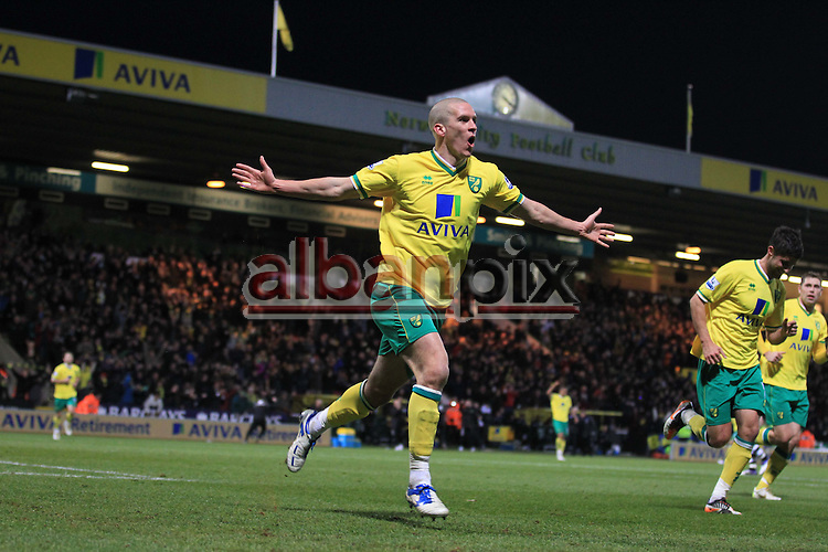 Norwich City vs Newcastle United.Norwich's Steve Morrison celebrates his goal for Norwich City.