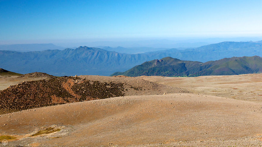 The view toward Kenya from the second highest peak in Ethiopia and the highest in the Bale Mountains; Tullu Demtu. 4,377 m (14,360 ft)