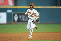 Cam Williams (55) of the Texas Longhorns hustles towards third base against the Missouri Tigers in game eight of the 2020 Shriners Hospitals for Children College Classic at Minute Maid Park on March 1, 2020 in Houston, Texas. The Tigers defeated the Longhorns 9-8. (Brian Westerholt/Four Seam Images)