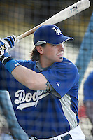 Andy LaRoche of the Los Angeles Dodgers during batting practice before a 2007 MLB season game at Dodger Stadium in Los Angeles, California. (Larry Goren/Four Seam Images)