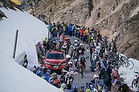 race leader Mikel Landa (ESP/SKY) surounded by motos on top of the Umbrailpass (Alt: 2502m)<br /> <br /> Stage 16: Rovett › Bormio (222km)<br /> 100th Giro d'Italia 2017