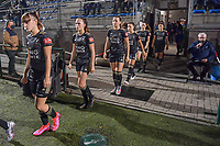 OHL players entering the field first before a female soccer game between  Racing Genk Ladies and Oud Heverlee Leuven on the fourth matchday of the 2020 - 2021 season of Belgian Scooore Womens Super League , friday 9 th of October 2020  in Genk , Belgium . PHOTO SPORTPIX.BE | SPP | STIJN AUDOOREN