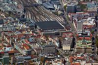 aerial photograph of the main rail station, Munich,  Germany | Luftaufnahme des Hauptbahnhofs, München, Deutschland
