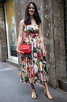 Milan,Italy - 19th june 2021 - Dolce & Gabbana fashion show for Milano fashion week Men's collection 18-22 june 2021 - girl with a colofrul dress posing before the show