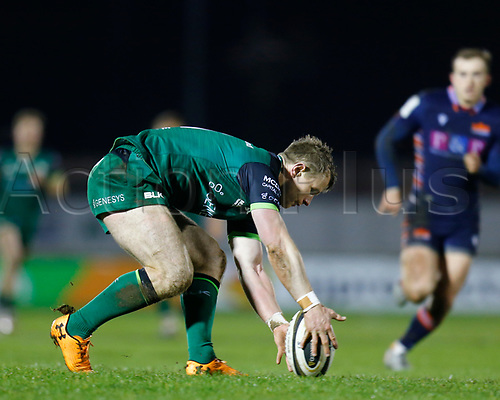 13th March 2021; Galway Sportsgrounds, Galway, Connacht, Ireland; Guinness Pro 14 Rugby, Connacht versus Edinburgh; Matt Healy gathers the ball for Connacht