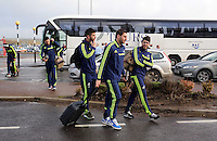 Wednesday 26 February 2014<br /> Pictured L-R: Jordi Amat, Angel Rangel and Alejandro Pozuelo arriving at Cardiff Airport.<br /> Re: Swansea City FC travel to Italy for their UEFA Europa League game against Napoli.