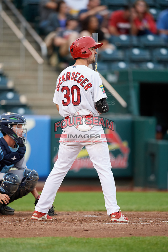 Springfield Cardinals third baseman Danny Diekroeger (30) at bat during a game against the Corpus Christi Hooks on May 31, 2017 at Hammons Field in Springfield, Missouri.  Springfield defeated Corpus Christi 5-4.  (Mike Janes/Four Seam Images)