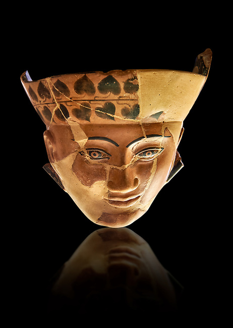 An Etruscan Dinos ( style of vase) with a face, from the Group of Dinoi Campana Ribbon Painter,  540-520 B.C. inv 3784, National Archaeological Museum Florence, Italy , black background