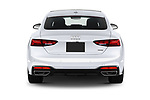 Straight rear view of 2020 Audi A5-Sportback Premium-plus 5 Door Hatchback Rear View  stock images
