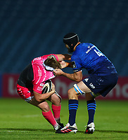 2nd October 2020; RDS Arena, Dublin, Leinster, Ireland; Guinness Pro 14 Rugby, Leinster versus Dragons; Nick Tompkins (Dragons) is tackled by Scott Fardy (Leinster)
