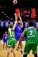 Tohi Smith-Milner of the Wellington Saints shoots the ball during the NBL - Wellington Saints v Manawatu Jets at TSB Bank Arena, Wellington, New Zealand on Sunday 13 June 2021.<br /> Photo by Masanori Udagawa. <br /> www.photowellington.photoshelter.com