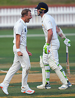 Neil Wagner celebrates dismissing Michael Bracewell for one during day two of the Plunket Shield men's cricket match between Wellington Firebirds and Northern Districts at the Basin Reserve in Wellington, New Zealand on Sunday, 28 March 2021. Photo: Dave Lintott / lintottphoto.co.nz