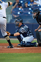 Tampa Yankees catcher Wes Wilson (69) awaits the pitch during the second game of a doubleheader against the Bradenton Marauders on April 13, 2017 at George M. Steinbrenner Field in Tampa, Florida.  Tampa defeated Bradenton 2-1.  (Mike Janes/Four Seam Images)