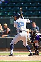Mark Threlkeld (28) of the Wilmington Blue Rocks at bat against the Winston-Salem Dash at BB&T Ballpark on July 6, 2014 in Winston-Salem, North Carolina.  The Dash defeated the Blue Rocks 7-1.   (Brian Westerholt/Four Seam Images)