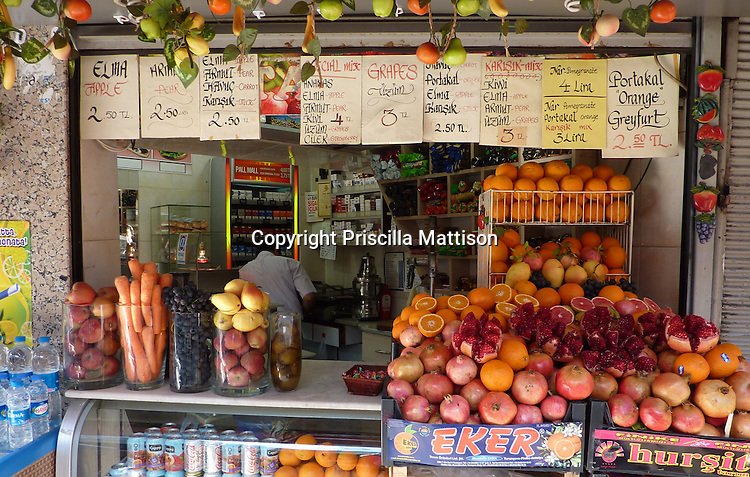 Fruit is piled up at a stand in Istanbul.
