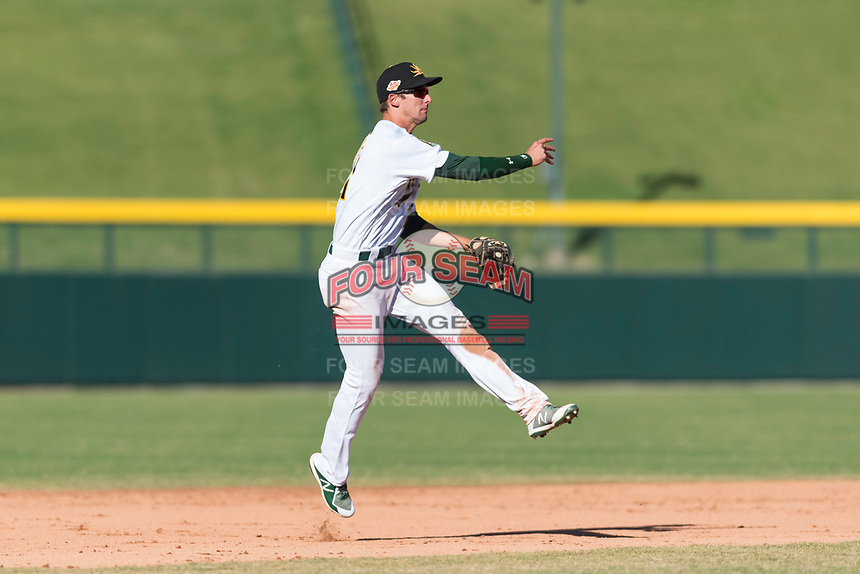 Mesa Solar Sox shortstop Eli White (21), of the Oakland Athletics organization, throws to first base during an Arizona Fall League game against the Salt River Rafters at Sloan Park on October 30, 2018 in Mesa, Arizona. Salt River defeated Mesa 14-4 . (Zachary Lucy/Four Seam Images)