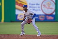 Dunedin Blue Jays shortstop Orelvis Martinez (11) during a game against the Clearwater Threshers on May 18, 2021 at BayCare Ballpark in Clearwater, Florida.  (Mike Janes/Four Seam Images)