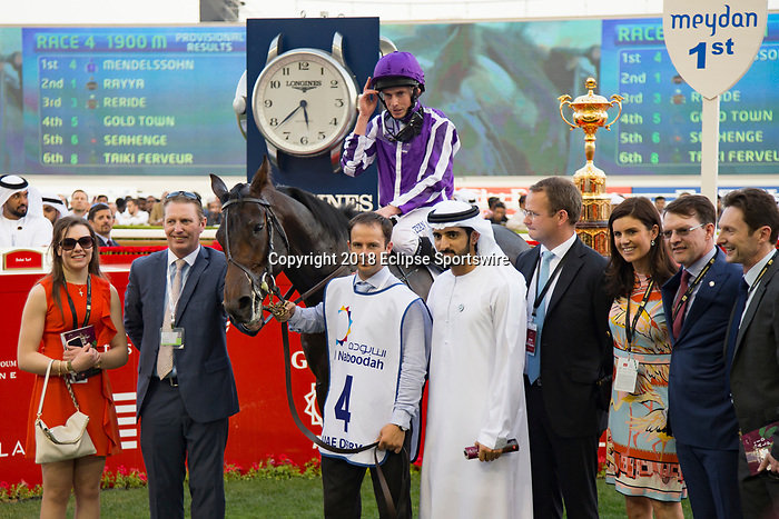 DUBAI,UNITED ARAB EMIRATES-MARCH 31: Mendelssohn,ridden by Ryan Moore,wins the UAE Derby at Meydan Racecourse on March 31,2018 in Dubai,United Arab Emirates (Photo by Kaz Ishida/Eclipse Sportswire/Getty Images)
