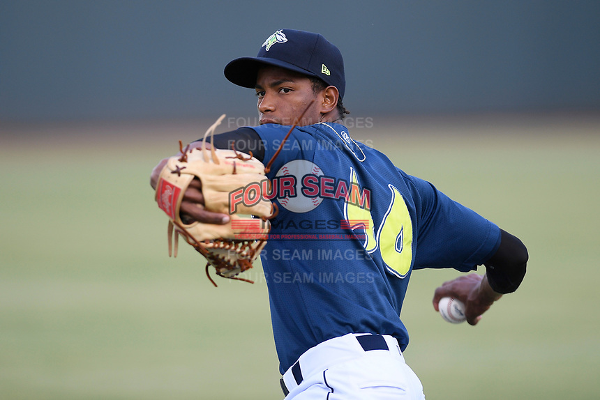 Starting pitcher Willy Taveras (40) of the Columbia Fireflies before a game against the Rome Braves on Tuesday, June 4, 2019, at Segra Park in Columbia, South Carolina. Columbia won, 3-2. (Tom Priddy/Four Seam Images)